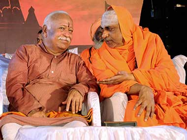 RSS chief Mohan Bhagwat at 'Dharma Sansad', a congregation of Hindu saints, mutt heads and VHP leaders from across the country, at an event in Udupi, Karnataka. PTI