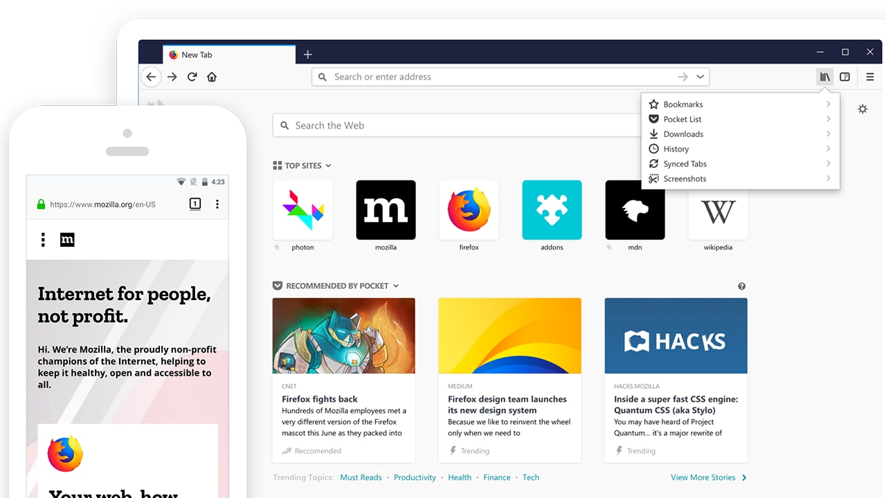The browser features a new Quantum CSS rendering engine as well as a new design system called Photon