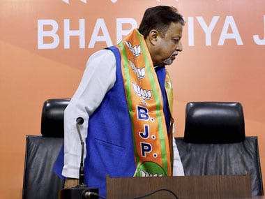 Former TMC leader Mukul Roy after joining Bharatiya Janata Party in New Delhi on Friday. PTI