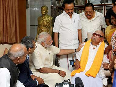 Prime Minister Narendra Modi visiting the ailing DMK President M Karunanidhi in Chennai on Monday. DMK Working President MK Stalin, senior party leader Durai Murugan and other leaders are also present. PTI