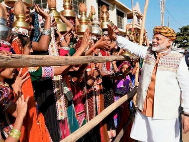 Prime Minister Narendra Modi ahead of a rally in Bhuj on Monday. PTI