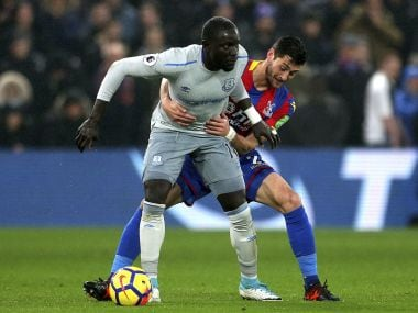 Everton's Oumar Niasse (left) in action against Crystal Palace. AP