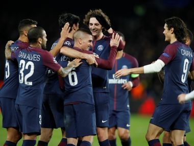 Paris Saint-Germain players celebrate their 7-1 win over Celtic in the Champions League. Reuters