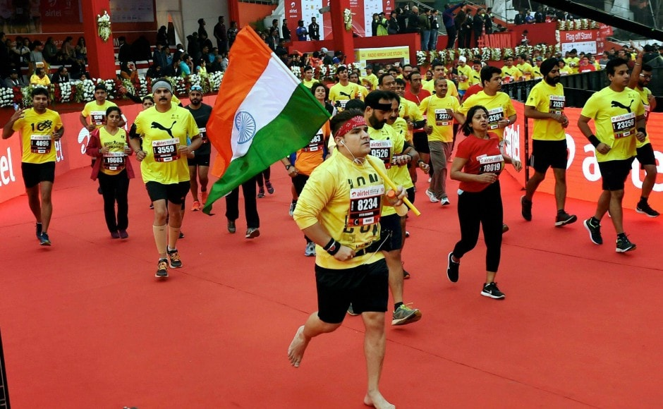 Around 35,000 participated from across the world in the Airtel Delhi Half Marathon 2017 despite the warnings from the Indian Medical Association (IMA) over escalating levels of toxic smog in the national capital. PTI