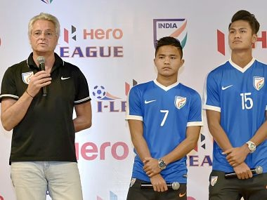 New Delhi: U-17 Indian football team coach and players participating in the I-League for Indian Arrows club at a press conference for the launch of I-League football championship 2017 in New Delhi on Tuesday. PTI Photo by Vijay Verma(PTI11_21_2017_000057B)
