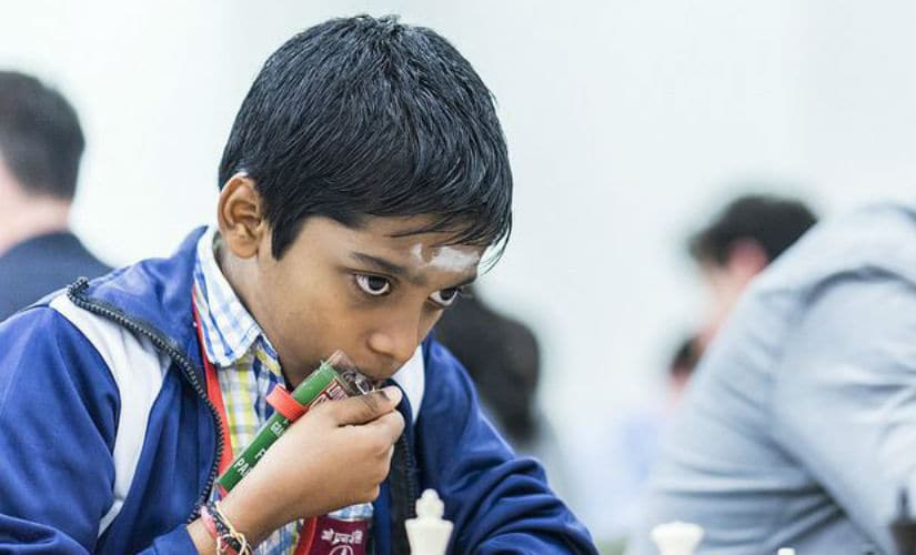 R Praggnanandhaa only managed to draw his game against German GM Rasmus Svane and finished fourth in the tournament. Image Courtesy: Lennart Ootes