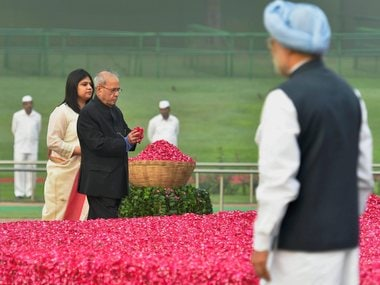 File image of former President Pranab Mukherjee paying homage to country's first prime minister Pandit Jawaharlal Nehru on his 128th birth anniversary, in New Delhi on Tuesday. PTI