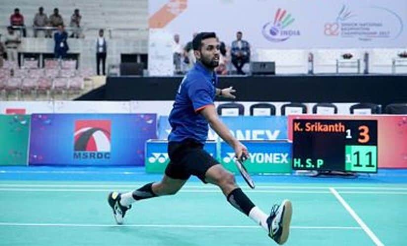 HS Prannoy got the better of Kidambi Srikanth in the final. Image courtesy: Twitter @SNBCIndia2017