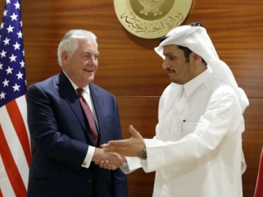 File photo of US Secretary of State Rex Tillerson and Qatar's Foreign Minister Sheikh Mohammed bin Abdulrahman Al Thani. AP