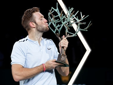 Tennis - ATP 1000 Masters Series - Rolex Paris Masters - AccorHotels Arena, Paris, France - November 5, 2017 USA's Jack Sock celebrates with the trophy after winning the final against Serbia's Filip Krajinovic REUTERS/Charles Platiau - RC186A828F90