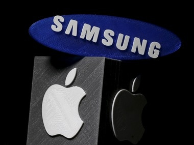 3D-printed Samsung and Apple logos. Reuters