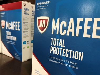 McAfee computer security software is shown for sale at a computer store in San Marcos, California, U.S.,  May 15, 2017.   REUTERS/Mike Blake - RC19962B2130