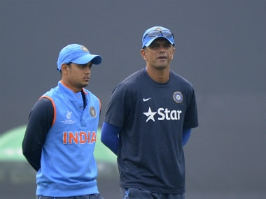 Coached by Rahul Dravid (R), India also lost to Nepal earlier in the series. Getty Images/ File