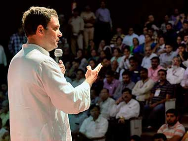 Congress vice-president Rahul Gandhi addressing representatives of the public health sector in Ahmedabad, Gujarat. PTI