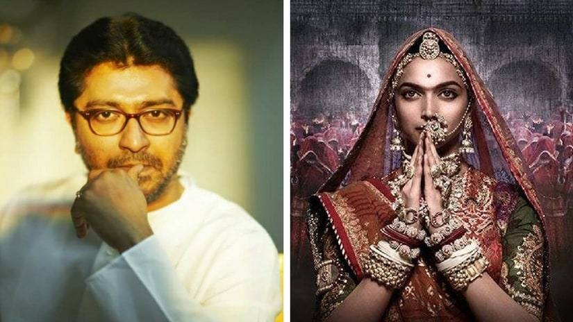 Raj Thackeray (left); Deepika Padukone in Padmavati poster. Images via Facebook