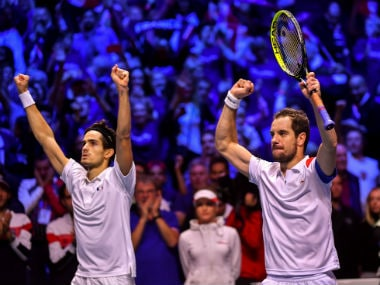 France's Richard Gasquet and Pierre-Hugues Herbert celebrate their victory. AFP
