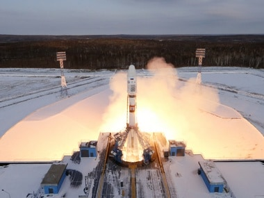 The Souyz-2 spacecraft with Meteor-M satellite and 18 additional small satellites launches from Russia's new Vostochny cosmodrome, near the town of Tsiolkovsky in Amur region, Russia November 28. Reuters