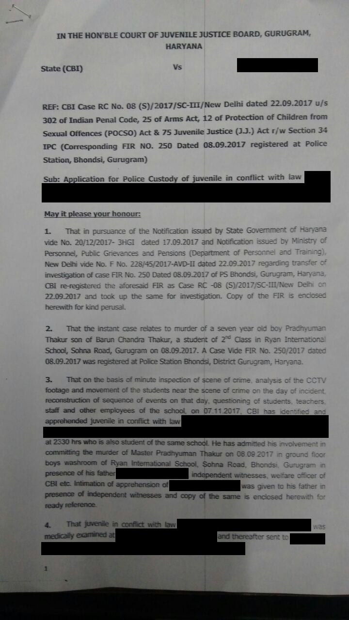 CBI's letter to the juvenile board asking for custody of the accused. Image credit: IBN Reseach team