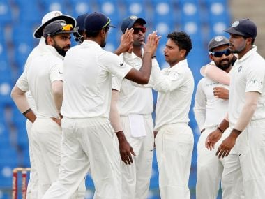 India players celebrate during the third Test match in Pallekele, Sri Lanka, on 14 August, 2017. Reuters