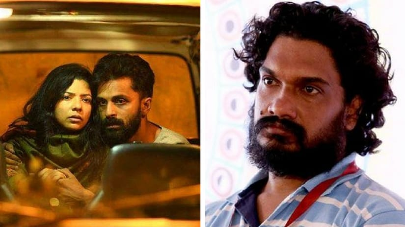 Still from S Durga (left); director Sanal Kumar Sasidharan (right). Images via Twitter