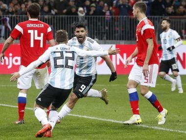 Sergio Aguero netted a late winner for Argentina who beat Russia in Moscow's Luzhniki stadium. AP