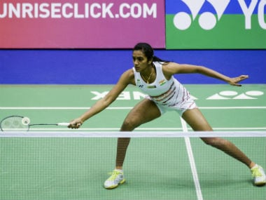 PV Sindhu in action against Ratchanok Intanon in the semi-finals. AFP