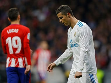 Real Madrid's Cristiano Ronaldo walks along the pitch during the Spanish La Liga soccer match between Real Madrid and Atletico at the Wanda Metropolitano stadium in Madrid, Saturday, Nov 18, 2017. The match ended in a 0-0 draw. (AP Photo/Francisco Seco)