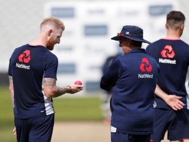 File image of England's Ben Stokes and head coach Trevor Bayliss during nets . Reuters