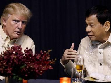 US president Donald Trump and his Filipino counterpart Rodrigo Duterte at ASEAN Summit on Sunday. Reuters