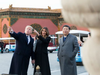 US president Donald trump with his Chinese counterpart Xi Jinping on Wednesday. Twitter @realDonaldTrump