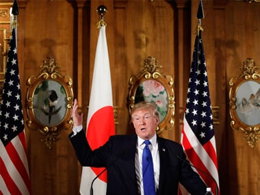 President Donald Trump speaks at the joint press conference at the Akasaka Palace on Monday. AP