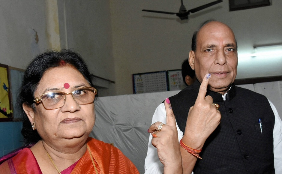 Union home minister Rajnath Singh and his wife cast their votes for the civic polls. The polling for the first phase of the election was held on 22 November and the final phase would be on 29 November. PTI