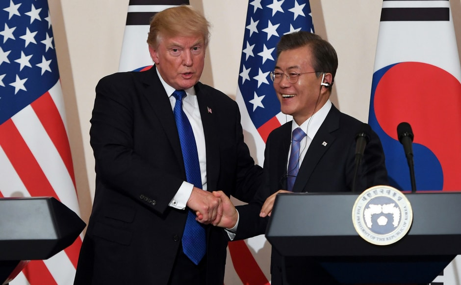 Trump's tone in Seoul was more moderate and in contrast to his previous aggressive rhetoric. AP