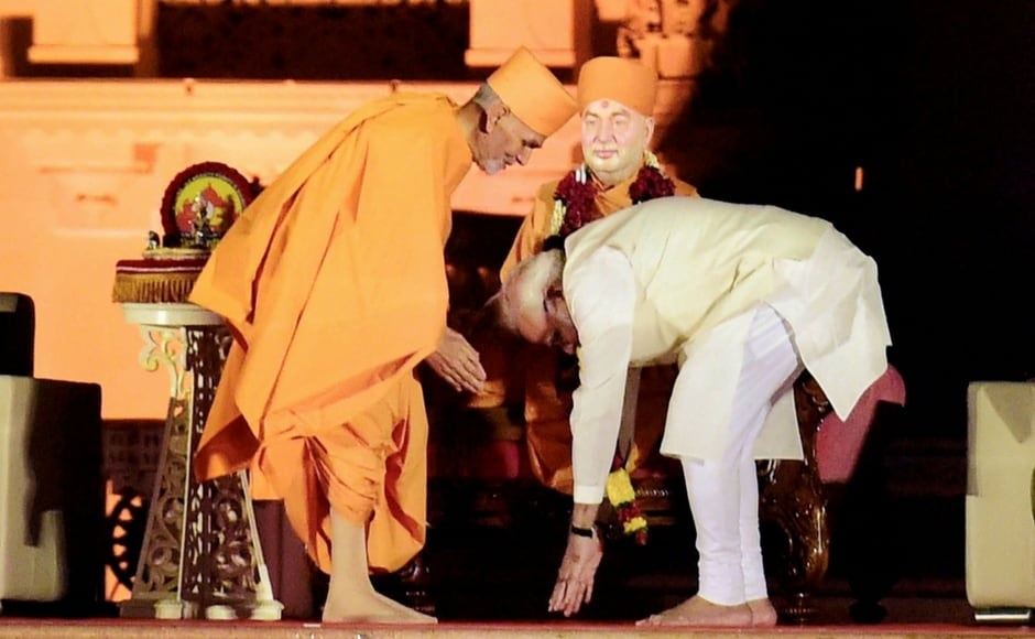 The prime minister also lauded Pramukh Swami for building a 3-D theatre in the Akshardham temple in Delhi. He further said that the seer constructed around 12,000 temples in his lifetime, which are centres of cultural and spiritual enlightenment. PTI
