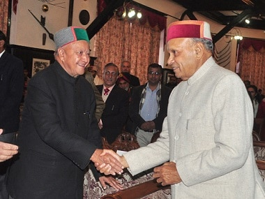 File image of Chief Minister Virbhadra Singh and BJP's chief ministerial candidate Prem Kumar Dhumal. Getty images