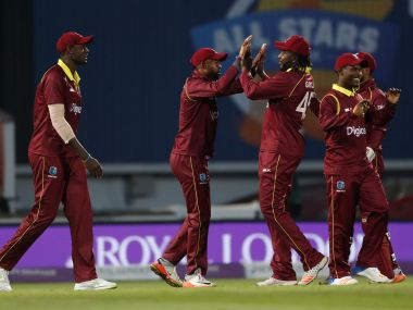 File image of Windies players celebrating during a match. Reuters