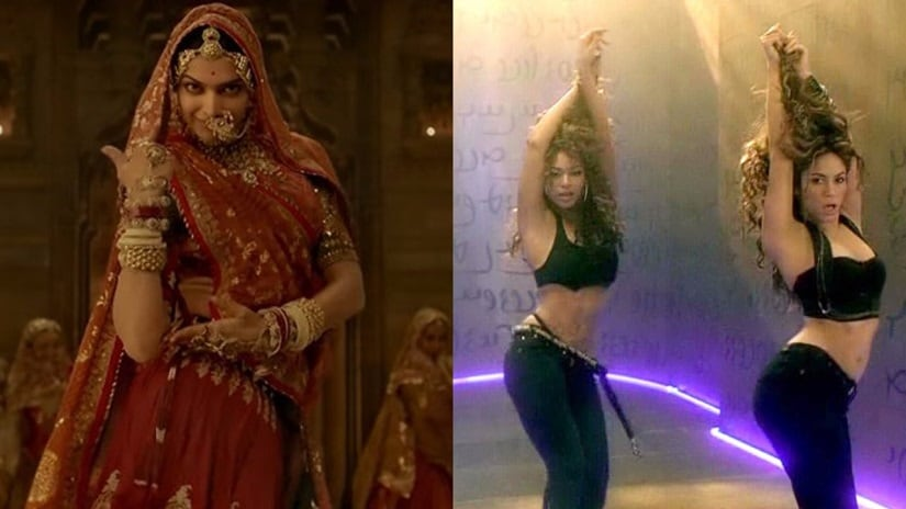Youtube screen grabs from 'Ghoomar' and 'Beautiful Liar'.