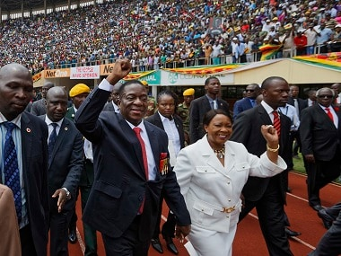 Emmerson Mnangagwa and his wife Auxillia at the presidential inauguration ceremony. AP