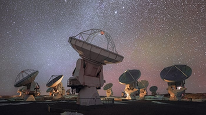 This photograph shows ALMA, the most powerful ground-based telescope for observing the cool Universe.
