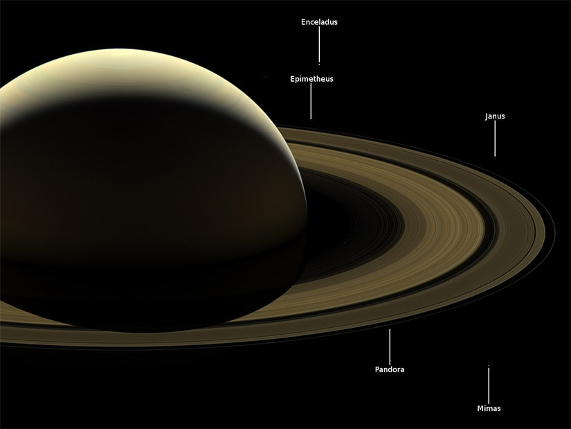 Some moons of Saturn can be seen in the image. Image: NASA.