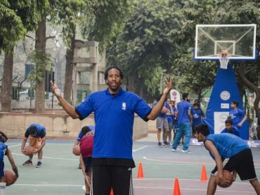 Former NBA star Andre Miller during his visit to NBA Basketball School in Delhi's Sheikh Sarai recently. Image courtesy: NBA India