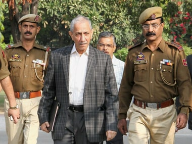 Centre's special representative for Kashmir Dineshwar Sharma on his way for a meeting with various delegations in Jammu on Friday. PTI