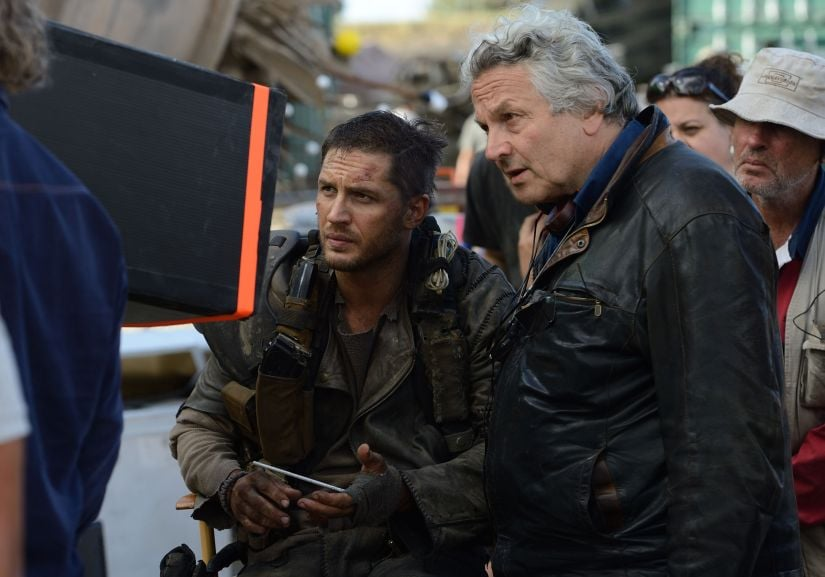 George Miller and Tom Hardy on the set of Mad Max: Fury Road. Warner Bros.