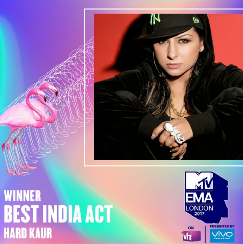 Hard Kaur wins Best India Act at MTV Europe Music Awards 2017. Image from Twitter/@Vh1India.