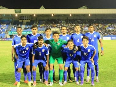 The India U19 team pose before their match against Saudi Arabia. Image courtesy: Twitter/@IndianFootball