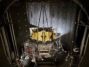 The James Webb Space Telescope in the cryogenic chamber. Image: NASA.