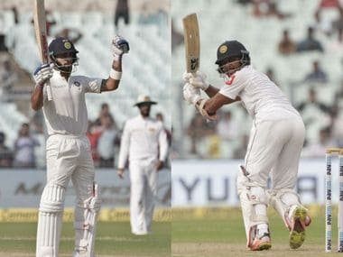 Virat Kohli (L) and Dinesh Chandimal. AP