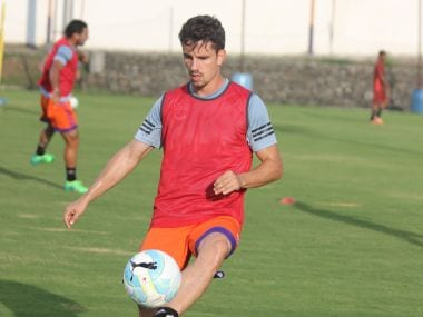 FC Pune City striker Marcelinho during a training session