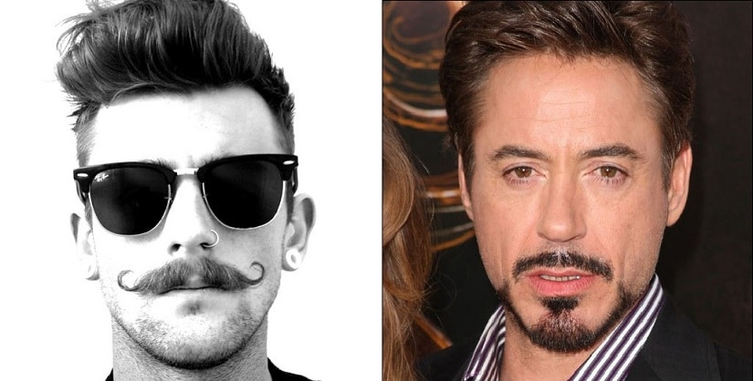 (L) The Handle Bar Mo — the symbol of Movember; (R) the Anchor Mo, as sported by Robert Downey Jr