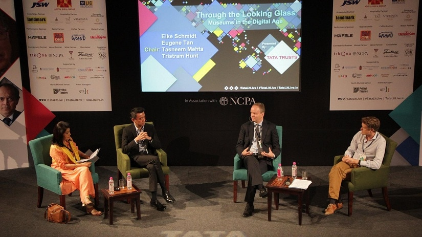 Eike Schmidt, director of Uffizi Gallery in Florence; Eugene Tan, director of Singapore's National Gallery; and Tristram Hunt, director of London's Victoria and Albert Museum. The session was chaired by Tasneem Mehta, director of Mumbai's Dr Bhau Daji Lad Museum